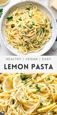 Simple Lemon Pasta recipe features tender pasta tossed with a buttery, garlic lemon sauce, red pepper flakes, and parsley for a delicious quick and easy vegan pasta dish! #lemonpasta #veganpasta #veganrecipes #healthyrecipes