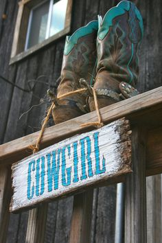 Cowgirl Hand Painted Barn Wood Sign by BethanySimpsonStudio