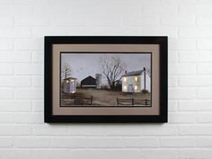 Outhouse and farmhouse lighted matted and framed country wall art print