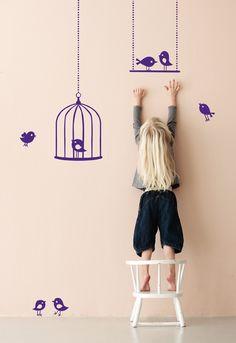 Cute wall stickers ferm LIVING - 2073-09 Tweeting Birds - Violet