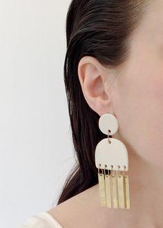 White Satin Porcelain and Brass Sweeper Earrings