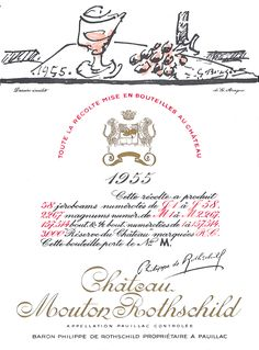 The 1955 Chateau Mouton Rothschild wine label by: Georges Braque Georges Braque, Wine Drinks, Alcoholic Drinks, Beverages, Georges Mathieu, Cognac Whiskey, Mouton Rothschild, Italian Party, Wine Label Design