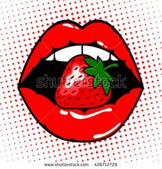 """red lips with strawberry. ,Woman red lips with strawberry. Painting, """"Smok'in Ivy"""" Christmas Village Display Platform for Lemax Dept 56 Disney Drawings, Cartoon Drawings, Art Drawings, Pop Art Lips, Lips Painting, Pop Art Background, Pop Art Drawing, Banana Art, Illustration Vector"""