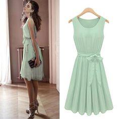 Chic Womens Sleeveless Vest Pleated Skirt Chiffon Casual Green Dress 8 10 12 14 [10,Greens]