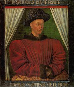 Jean Fouquet - Portrait du roi Charles VII   Musée du Louvre, Paris.   Huile sur bois