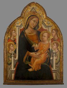 Maestro di San Polo in Chianti, Madonna col Bambino in trono e quattro Angeli,  Collezione privata Michele Bagnarelli di Milano (tavola centrale di un polittico -smembrato- della prima metà del 1300)