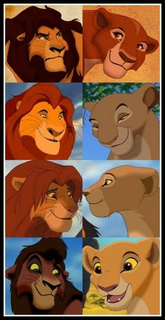 Nala, Simba, Mufasa, Sarabi, Kovu, and Kiara! And I don't know who the lions are at the top.