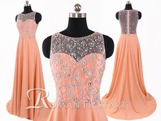 2015 Coral See Through Chiffon Long Prom Dress With Crystals,Sleeveless Sweep-Train Evening Dress,Sheer Prom Dress,80s Formal Dres