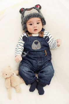 Adorable baby outfits Newborn Clothing - Baby Clothes and Infantwear - Next Bear Denim Dungarees - EziBuy Australia So Cute Baby, Cute Baby Clothes, Cute Babies, Baby Kids, Summer Clothes, Baby Baby, Cute Baby Boy Outfits, Winter Baby Clothes, Baby Winter