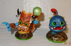 Skylanders Double Trouble & Wrecking Ball Green Bases Action Figures Lot 2 Pc NT #Activision