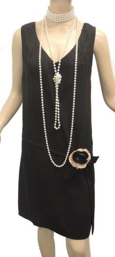 New vintage 1920 Noir gatsby downton abbey déco tambour Charleston robe