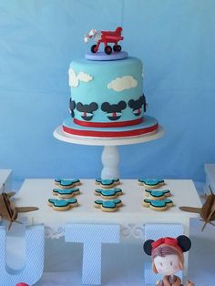 Mickey Mouse airplane birthday party cake and cookies! See more party planning ideas at CatchMyParty.com! Mickey Mouse Decorations, Mickey Mouse Cake, Mickey Mouse Parties, Mickey Party, Mickey Mouse Birthday, 3rd Birthday, Birthday Party Themes, Birthday Ideas, Mickey Mouse Christmas