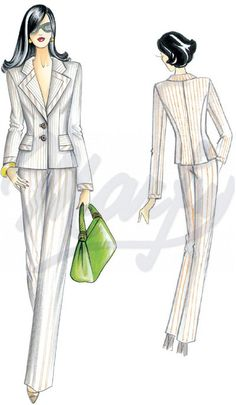 Mt 1 60 alt 1 40 Available in sizes 42 to 46 This single-breasted form-fitting jacket boasts an interplay of imposing geometries The collar has broad lapels trimmed to match the wide flaps and cuffs Suggested fabric pin-striped cool wool or gabardine Fashion Design Portfolio, Fashion Design Drawings, Fashion Sketches, Fashion Drawing Dresses, Fashion Illustration Dresses, Marfy Patterns, Clothing Patterns, Covet Fashion, 90s Fashion