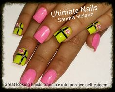 Two colors, freehand nail art!  sculptured acrylic nails