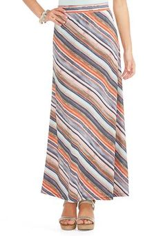 Cato Fashions Multi Striped Maxi Skirt-Plus #CatoFashions. I have this and it is so comfortable.