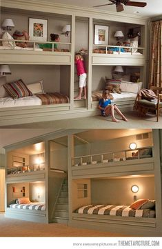 Lots of bunk beds. I love the idea of bunks - maybe because I had bunk beds when I was younger, maybe because of Red Dwarf. Love the central stairway/ladder. Cool Girl Bedrooms, Kids Bedroom, Kids Rooms, Bedroom Ideas, Childrens Bedroom, Extra Bedroom, Bedroom Decor, Room Boys, Shared Bedrooms