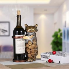 Tooarts Adorable Cat Wine Holder Cork Metal Wine Barrel Cork Storage Cage Table Cork Container Ornament: Kitchen & Dining top gifts for cat lovers / cat home decor items Wine Bottle Corks, Wine Bottle Holders, Cat Christmas Ornaments, Christmas Cats, Christmas Decorations, Cork Ornaments, Design Hotel, Chat Rose, Wine Stand