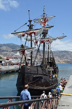 1. Along the waterfront - Santa Maria de Colombo replica ship, Funchal, Madeira, Portugal by Julie Dawn Fox http://juliedawnfox.com