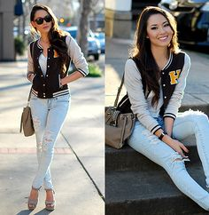 Get this look: http://lb.nu/look/4636991  More looks by Jessica R.: http://lb.nu/hapatime  Items in this look:  Style Godis Letterman Jacket, Bullhead Black Ripped Denim, Mimi Boutique Stone Bag, Ivi Vision Sunnies