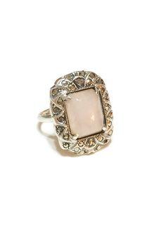 Art Deco Sterling Silver and Rose Quartz by GracesVintageGarden