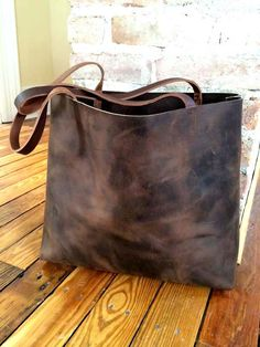 Dark+Brown+Leather+Tote+Bag++Marbleized+Brown+Leather+by+sord,+$250.00