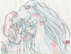 Sesshomaru and Rin from Inuyasha Inuyasha Funny, Rin And Sesshomaru, Inuyasha Fan Art, Inuyasha And Sesshomaru, Inuyasha Memes, Miroku, Kagome Higurashi, Manga Art, Anime Manga