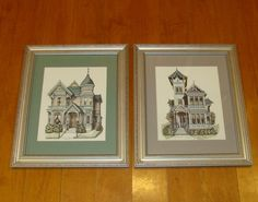 Victorian home lithographs-framed victorian house-california victorian home-old inn-watercolored lithograph-debbie patrick water color art by BECKSRELICS on Etsy