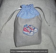 Bolsa de zapatos para bebé en tonos azules