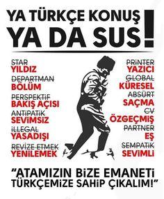 Türk demek, Türkçe demek Ne Mutlu Türk'üm Diyene! Gazi Mustafa Kemal Atatürk 🐺 🤘 🐺, Great Leaders, Cool Words, Karma, Funny Pictures, Language, Feelings, Memes, Fanny Pics, Funny Pics