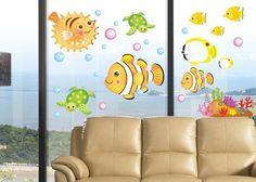 Artscharm Home Decor Fashion Mural Vinyl Wall Sticker Kids Nursery Room Wall Art Decal Paper DeepSea Fish ** Want additional info? Click on the image.