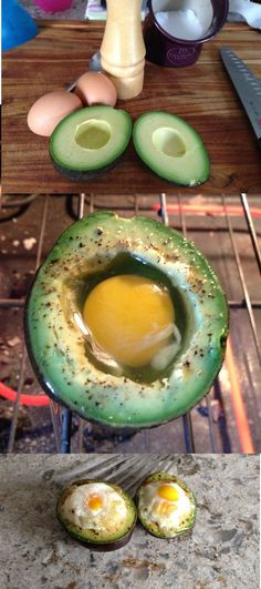 Egg avocado --slice off top like stuffed tomatoes--so ~80% avocado left for egg to bake in...?? plus scooped out stuff for other meals.