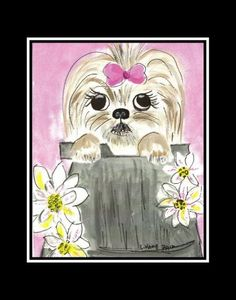 Shih Tzu and flowers