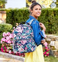 An exuberant botanical print with a nostalgic nod to the era of bold florals, this fresh-for-spring standout is trending to the top of many a wishlist. Garden Grove makes a dream pairing with rosy Garden Picnic and versatile solids like Strawberry Ice and Classic Navy. Garden Picnic, Affiliate Partner, Botanical Prints, Beautiful Bags, Vera Bradley Backpack, Pairs, Purple, Stylish, Accessories