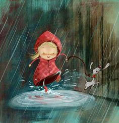 Little girl stepping in a puddle with dog while its raining cartoon art