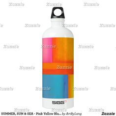 Shop SUMMER, SUN & SEA - Pink Yellow Blue Abstract Art Water Bottle created by ArtByLang. Pink Water Bottle, Aluminum Water Bottles, Art Store, Blue Abstract, Pink Yellow, Print Design, Design Products, Summer Sun, Prints