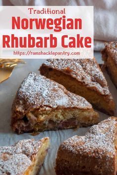 This delicious Norwegian Rhubarb Cake is a great way to enjoy your Springtime garden bounty. Rhubarb is so tasty and this tasty homemade dessert is just what you should be baking. Rhubarb Desserts, Rhubarb Cake, Spring Desserts, Just Desserts, Delicious Desserts, Dessert Recipes, Healthy Rhubarb Recipes, Rhubarb Ideas, Health Desserts