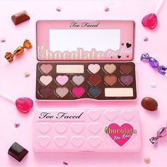 Too Faced Chocolate Bar Bon Bons Palette Eye shadow pallette of beautiful pinks and browns. From the best selling Chocolate Bar line. This pallet is new in box, unopened, and a genuine Too Faced product. Too Faced Makeup Eyeshadow Makeup Goals, Makeup Inspo, Makeup Palette, Eyeshadow Palette, Beauty Box, Maquillaje Too Faced, Skin Makeup, Beauty Makeup, Makeup Eyeshadow