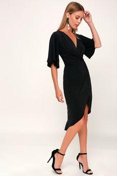 bfda84ce5e20 Cute Black Dress - Midi Dress - Surplice Dress - Tulip Dress Jersey Knit  Dress,