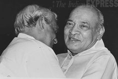 File Photo: Then PM PV Narsimha Rao embraces BJP leader Atal Behari Vajpayee before he gave the best Parliamentarian award to him in New Delhi in 1994.