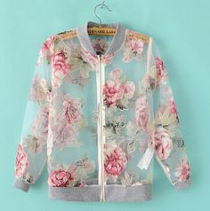 Organza Flower Print Jacket - Juicy Wardrobe