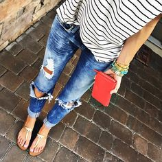 Old navy nautical tee, red engine distressed jeans, Tory burch millet sandals, red Louis Vuitton epi leather bag, gold Tory burch wrap bracelet, Michael kors watch