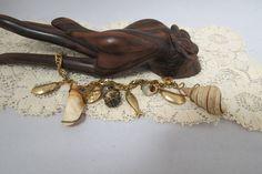 Vintage Cha Cha Seashell Bracelet Charm Bracelet Sea Shells by KansasKardsStudio on Etsy