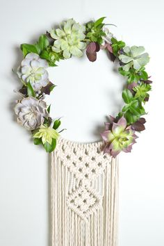 Chicago Macrame Workshop to create a Macrame Wreath with Succulents with Amy Zwikel Studio
