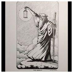 The Hermit Tarot. John Kulikoff, Evermore Tattoo, Los Angeles #tarot #art #ink #drawing #hermit