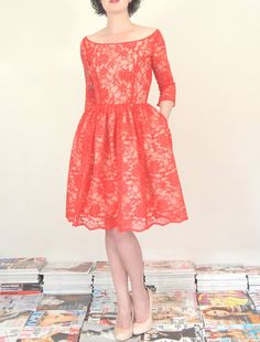 Red Lace Cocktail Dress  Scarlet and Nude  by alexandrakingdesign, £290.00