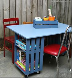 DIY project kids crate table workstation #sawdustandsnow