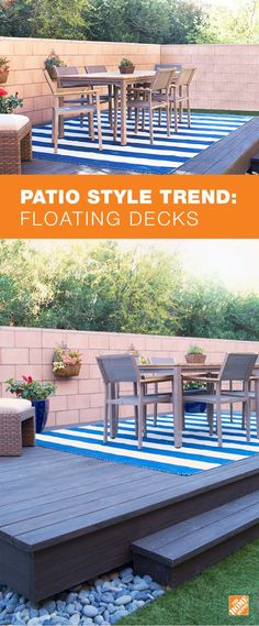 A floating or freestanding deck can add visual appeal to your backyard as well as increasing the space available for outdoor dining, entertaining or just relaxing outside. For more inspiration and how-to, check out The Home Depot Blog.: