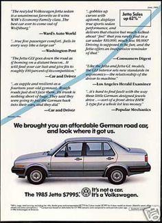 VW Volkswagen Jetta 4 Door Print Car (1985)