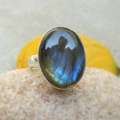 Natural Labradorite Ring in sterling silver by FineSilverStudio
