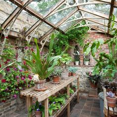 Greenhouses can offer an array of creative ideas, from just a spot for growing plants to your own indoor-outdoor living room. Backyard Greenhouse, Greenhouse Plans, Homemade Greenhouse, Cheap Greenhouse, Portable Greenhouse, Concrete Garden Bench, Greenhouse Interiors, Winter Garden, Dream Garden